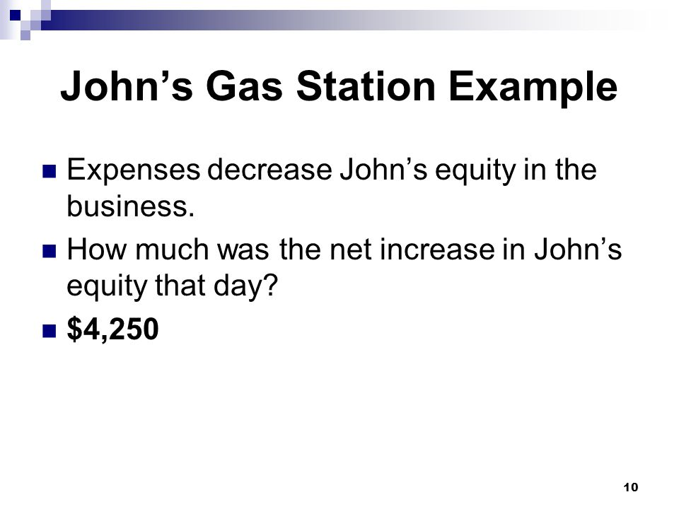 10 John's Gas Station Example Expenses decrease John's equity in the business.