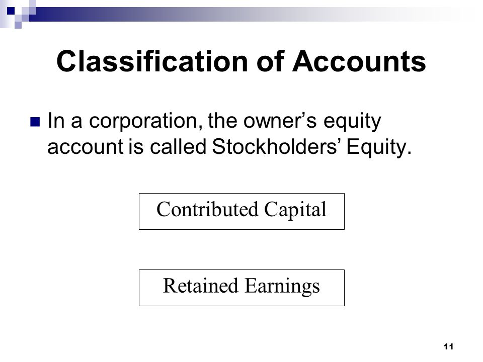 11 Contributed Capital Retained Earnings Classification of Accounts In a corporation, the owner's equity account is called Stockholders' Equity.