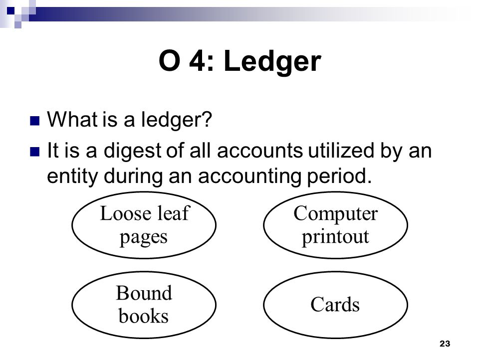 23 Bound books Computer printout Cards Loose leaf pages O 4: Ledger What is a ledger.