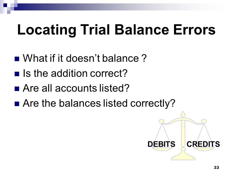 33 DEBITS CREDITS Locating Trial Balance Errors What if it doesn't balance .