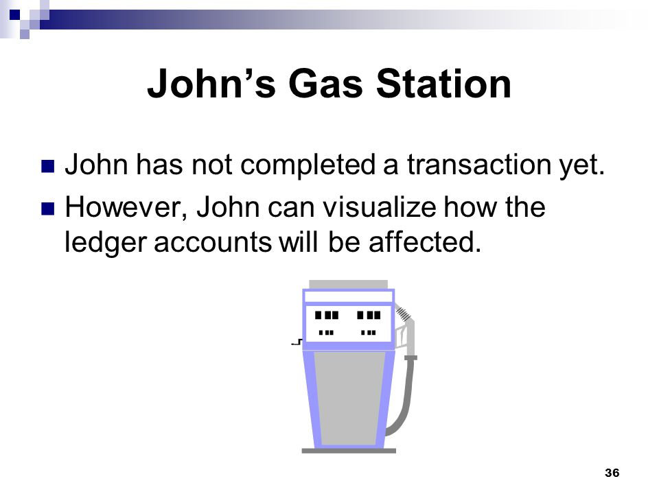 36 John's Gas Station John has not completed a transaction yet.