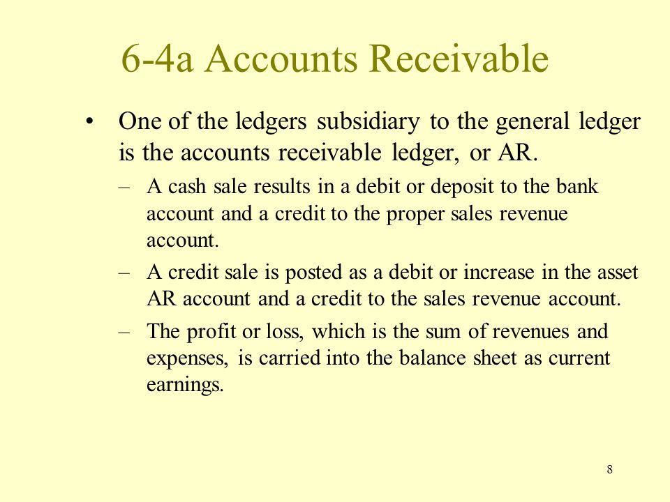 8 6-4a Accounts Receivable One of the ledgers subsidiary to the general ledger is the accounts receivable ledger, or AR.