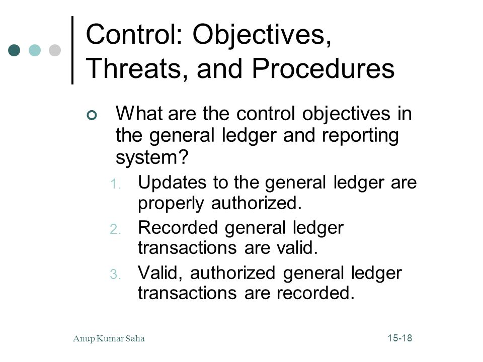 15-18Anup Kumar Saha Control: Objectives, Threats, and Procedures What are the control objectives in the general ledger and reporting system.