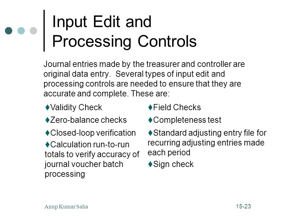 15-23Anup Kumar Saha Input Edit and Processing Controls Journal entries made by the treasurer and controller are original data entry.