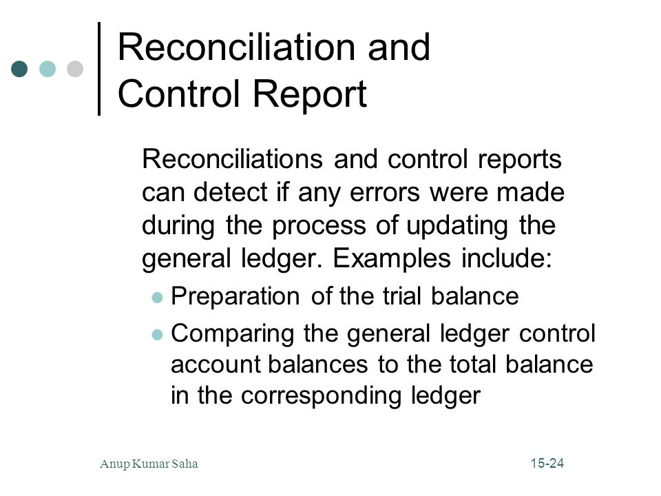 15-24Anup Kumar Saha Reconciliation and Control Report Reconciliations and control reports can detect if any errors were made during the process of updating the general ledger.