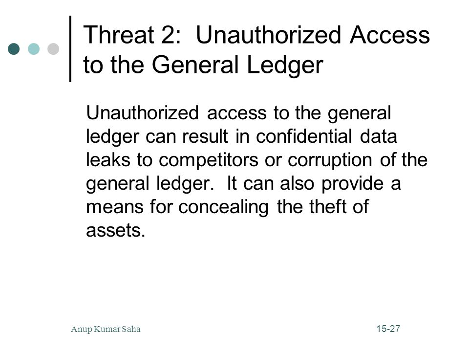 15-27Anup Kumar Saha Threat 2: Unauthorized Access to the General Ledger Unauthorized access to the general ledger can result in confidential data leaks to competitors or corruption of the general ledger.