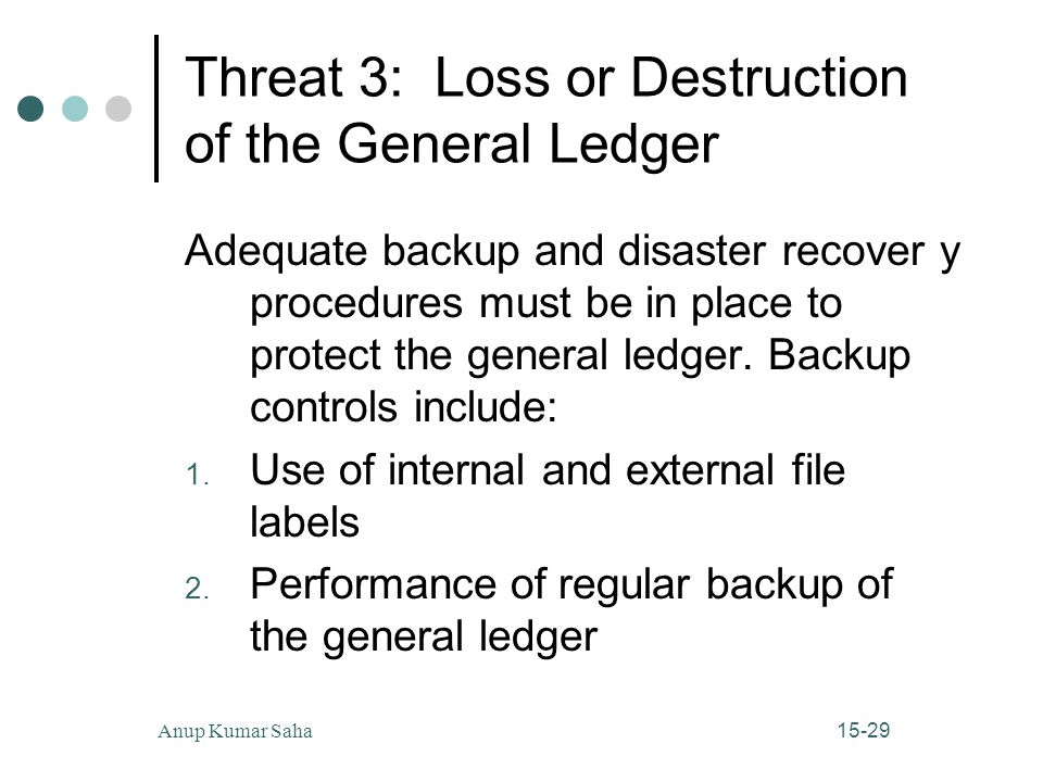 15-29Anup Kumar Saha Threat 3: Loss or Destruction of the General Ledger Adequate backup and disaster recover y procedures must be in place to protect the general ledger.
