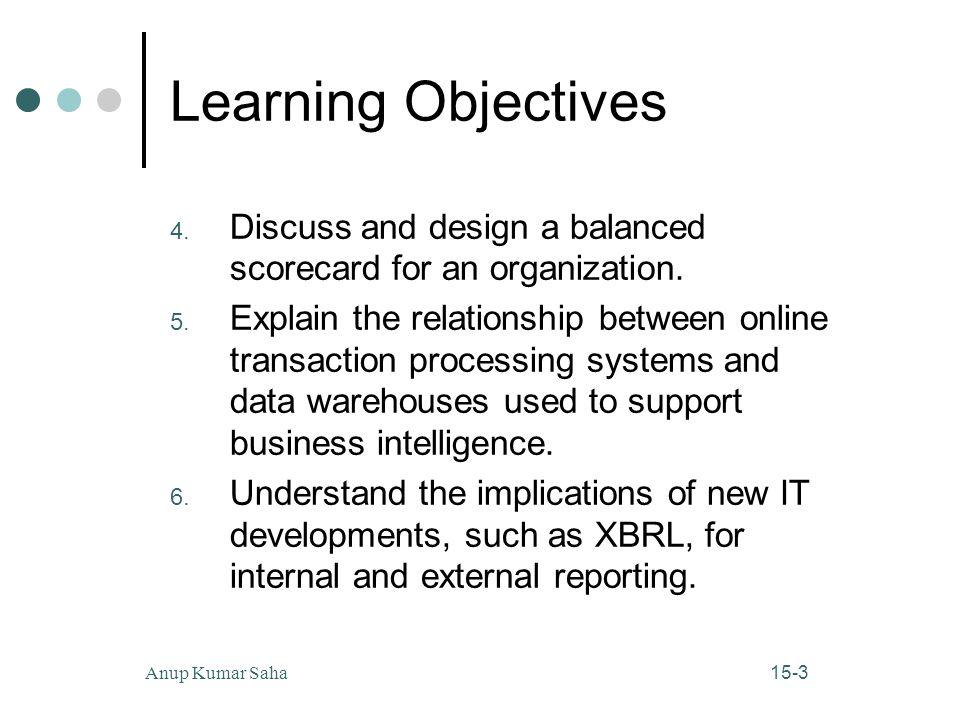 15-3Anup Kumar Saha Learning Objectives 4. Discuss and design a balanced scorecard for an organization. 5. Explain the relationship between online tra