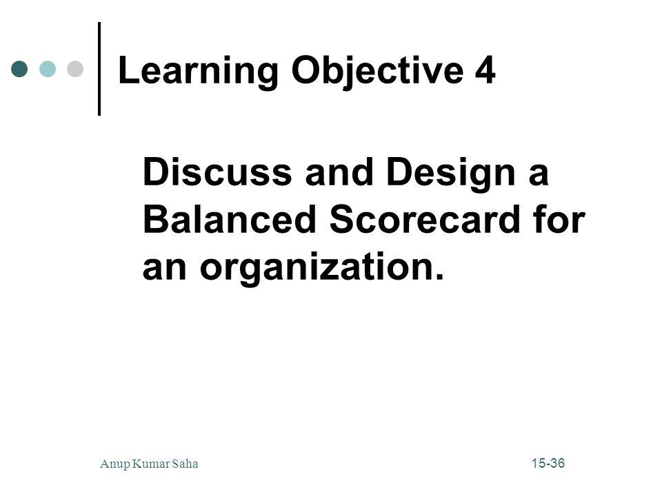 15-36Anup Kumar Saha Learning Objective 4 Discuss and Design a Balanced Scorecard for an organization.