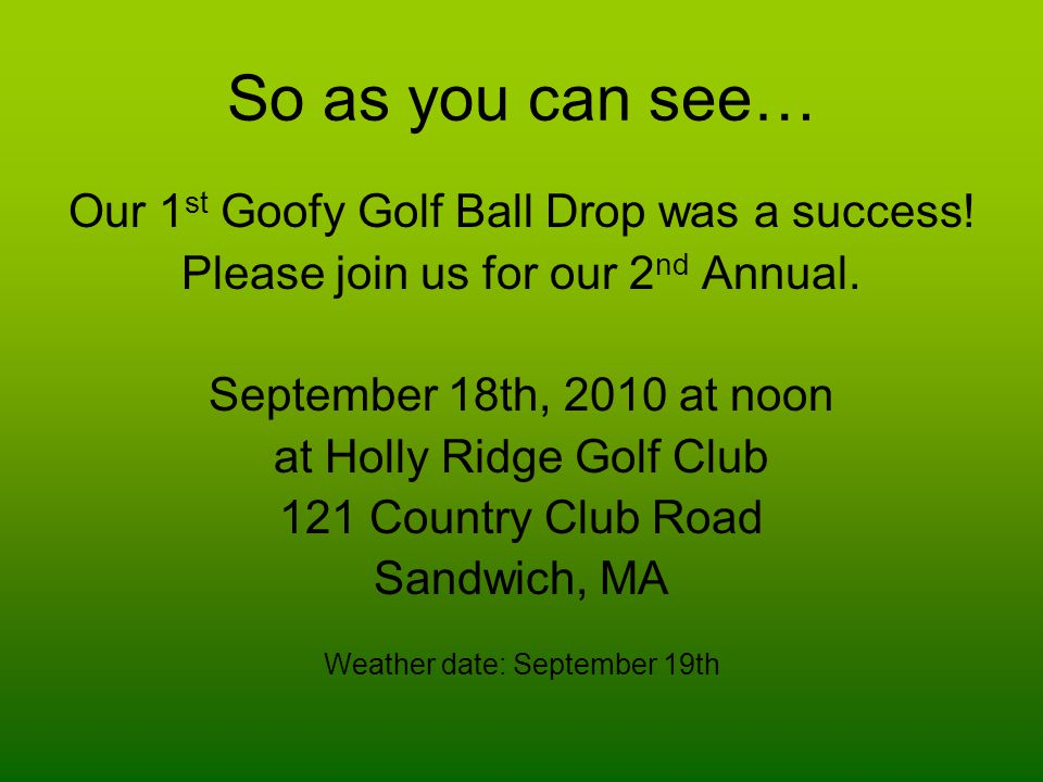 So as you can see… Our 1 st Goofy Golf Ball Drop was a success.
