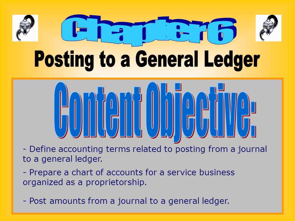 - Define accounting terms related to posting from a journal to a general ledger. - Prepare a chart of accounts for a service business organized as a p