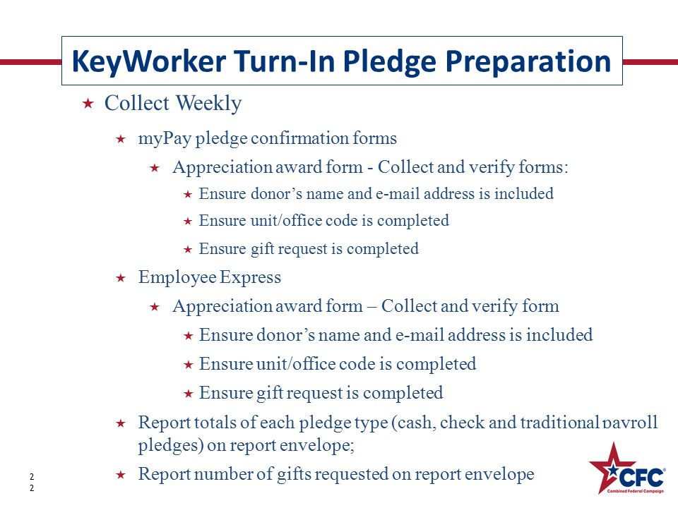KeyWorker Turn-In Pledge Preparation 22  Collect Weekly  myPay pledge confirmation forms  Appreciation award form - Collect and verify forms:  Ens