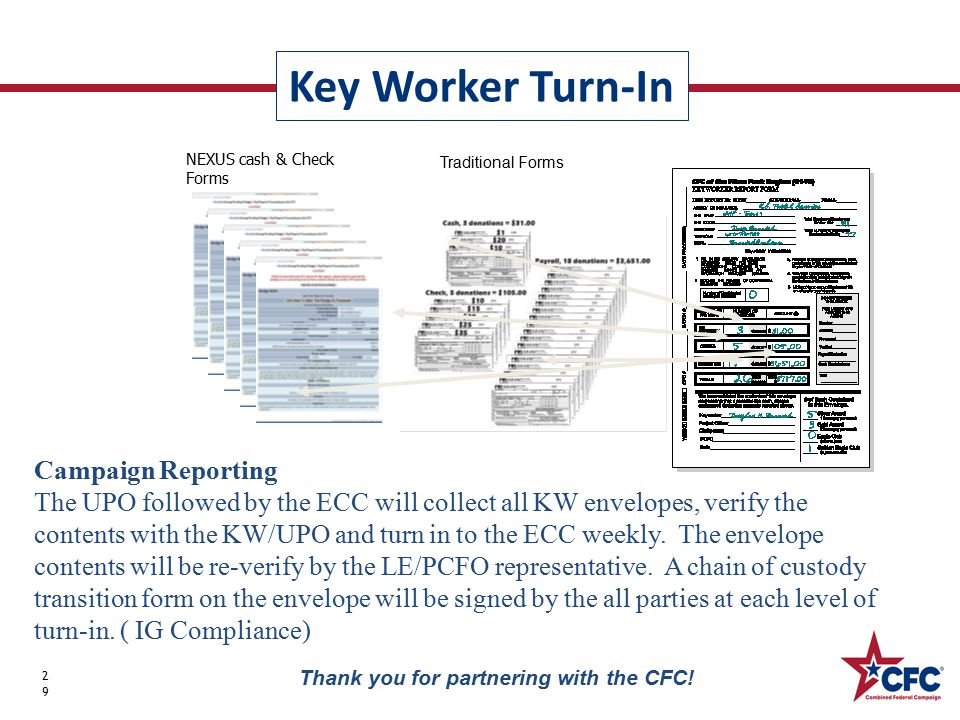 Key Worker Turn-In 29 Thank you for partnering with the CFC! Campaign Reporting The UPO followed by the ECC will collect all KW envelopes, verify the