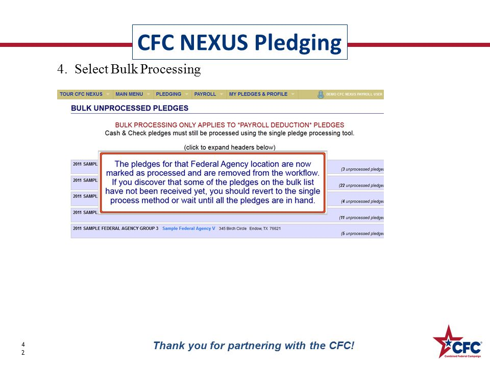 CFC NEXUS Pledging 42 Thank you for partnering with the CFC! 4. Select Bulk Processing