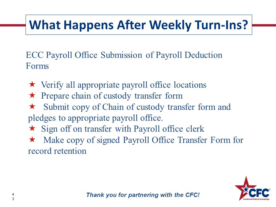 What Happens After Weekly Turn-Ins? 43 Thank you for partnering with the CFC! ECC Payroll Office Submission of Payroll Deduction Forms  Verify all ap