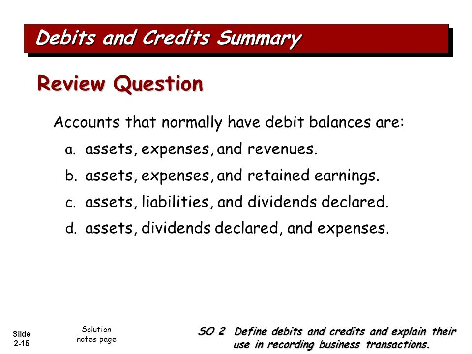 Slide 2-15 Accounts that normally have debit balances are: a. assets, expenses, and revenues. b. assets, expenses, and retained earnings. c. assets, l