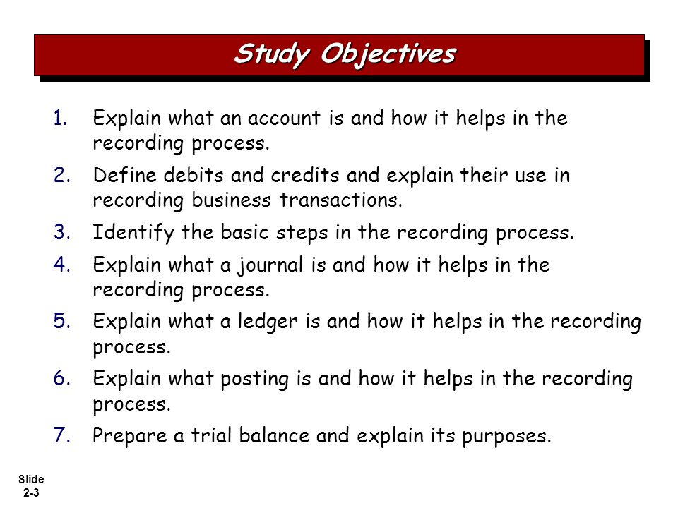 Slide 2-4 The Account Debits and credits Debit and credit procedure Stockholders' equity relationships Summary of debit/credit rules Limitations of a trial balance Locating errors Use of dollar signs Summary illustration of journalizing and posting JournalLedgerPosting Steps in the Recording Process The Recording Process Illustrated The Trial Balance The Recording Process