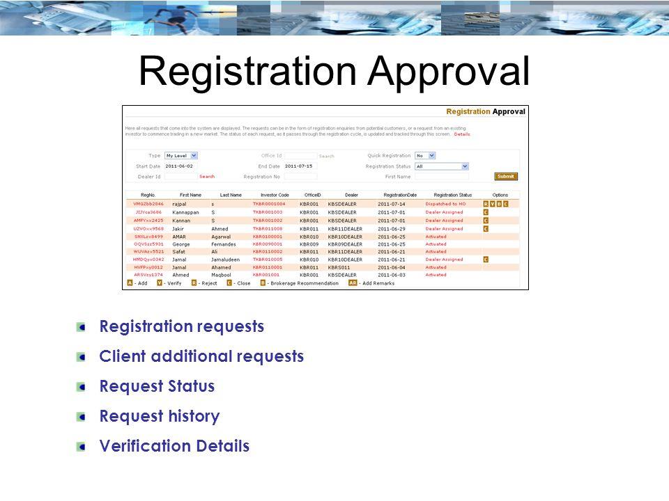 Registration Approval Registration requests Client additional requests Request Status Request history Verification Details
