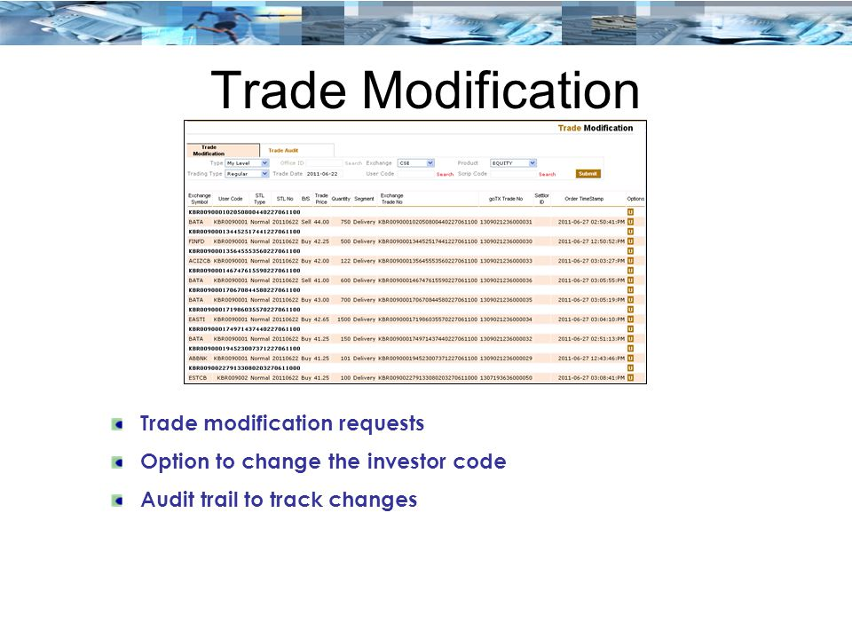 Trade Modification Trade modification requests Option to change the investor code Audit trail to track changes