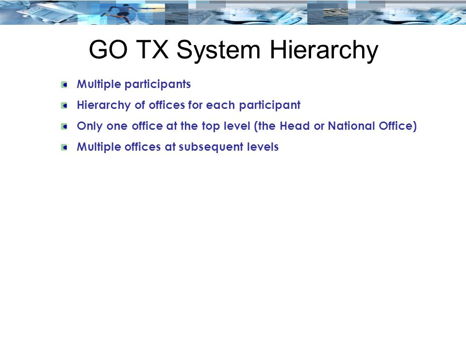 GO TX System Hierarchy Multiple participants Hierarchy of offices for each participant Only one office at the top level (the Head or National Office) Multiple offices at subsequent levels