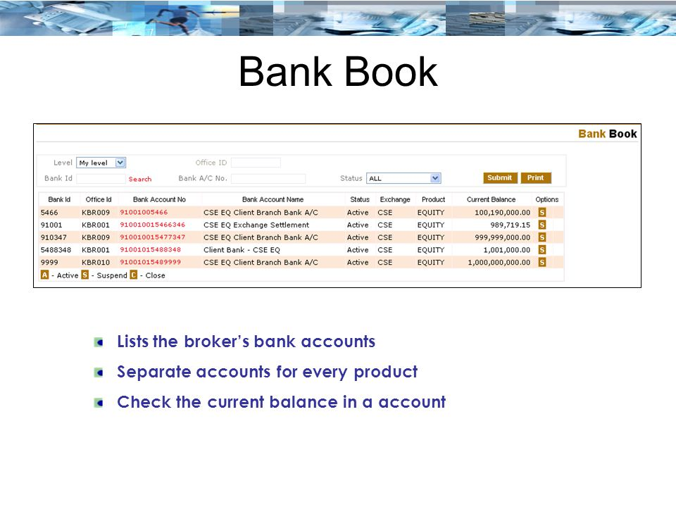 Bank Book Lists the broker's bank accounts Separate accounts for every product Check the current balance in a account