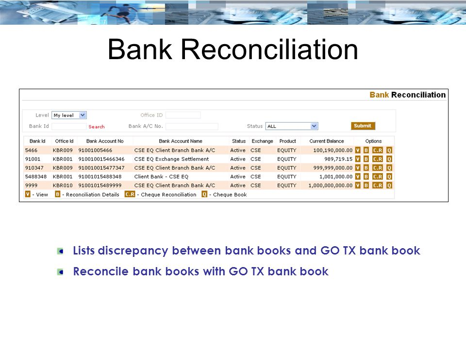 Bank Reconciliation Lists discrepancy between bank books and GO TX bank book Reconcile bank books with GO TX bank book