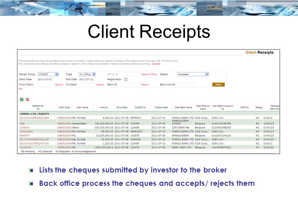 Client Receipts Lists the cheques submitted by investor to the broker Back office process the cheques and accepts/ rejects them