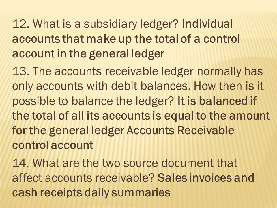 12. What is a subsidiary ledger.