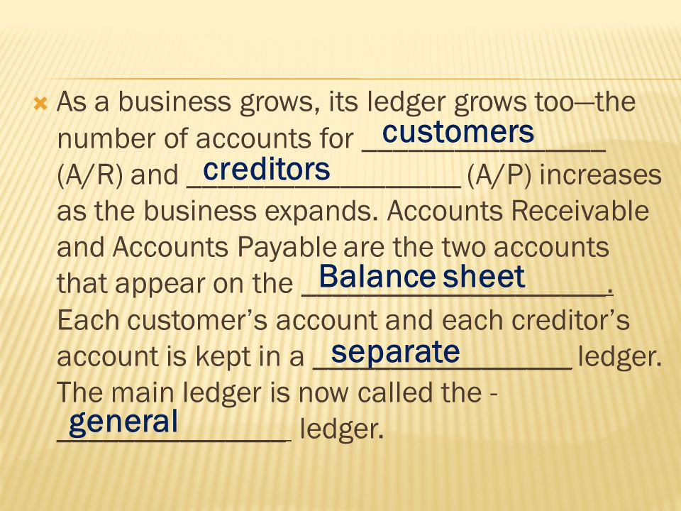  As a business grows, its ledger grows too—the number of accounts for ________________ (A/R) and __________________ (A/P) increases as the business expands.