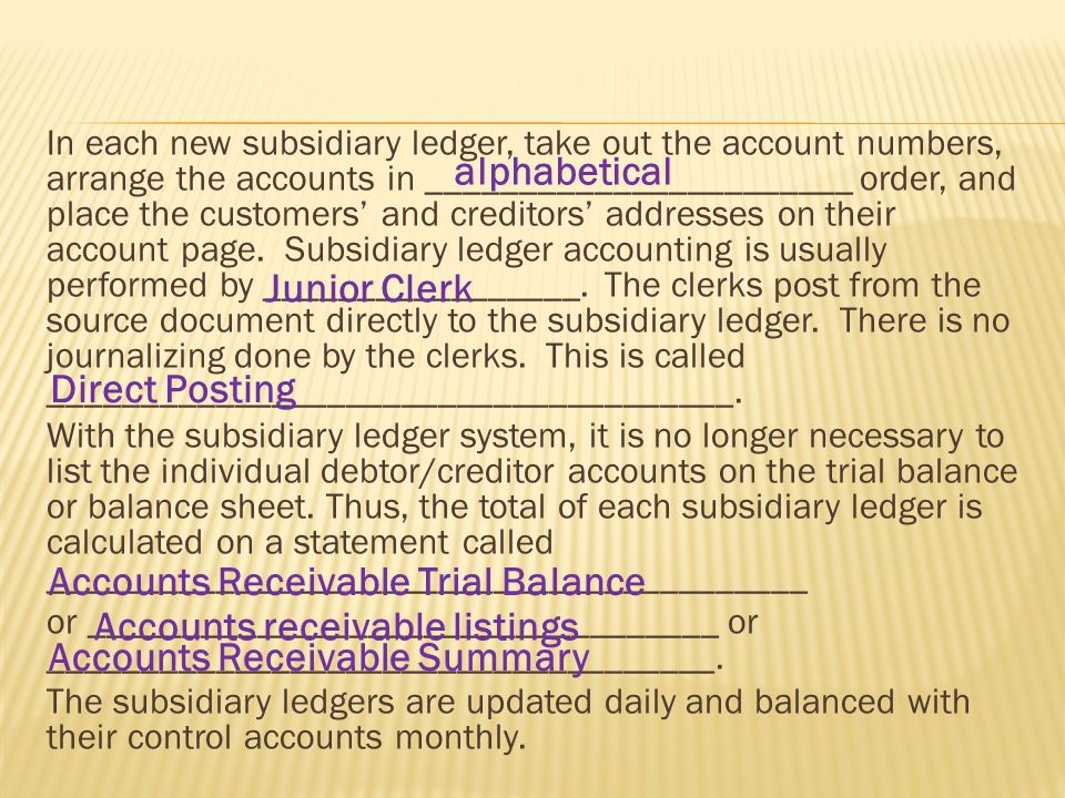 In each new subsidiary ledger, take out the account numbers, arrange the accounts in _______________________ order, and place the customers' and creditors' addresses on their account page.