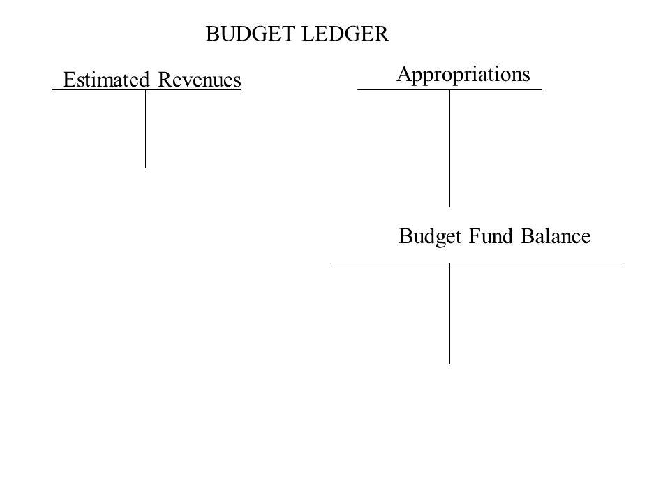 BUDGET LEDGER Estimated Revenues Appropriations Budget Fund Balance