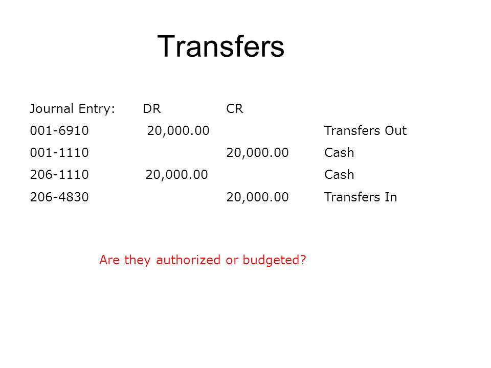Transfers Journal Entry: DRCR 001-6910 20,000.00Transfers Out 001-1110 20,000.00Cash 206-1110 20,000.00Cash 206-483020,000.00Transfers In Are they aut