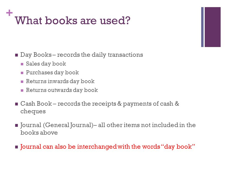 + What books are used? Day Books – records the daily transactions Sales day book Purchases day book Returns inwards day book Returns outwards day book