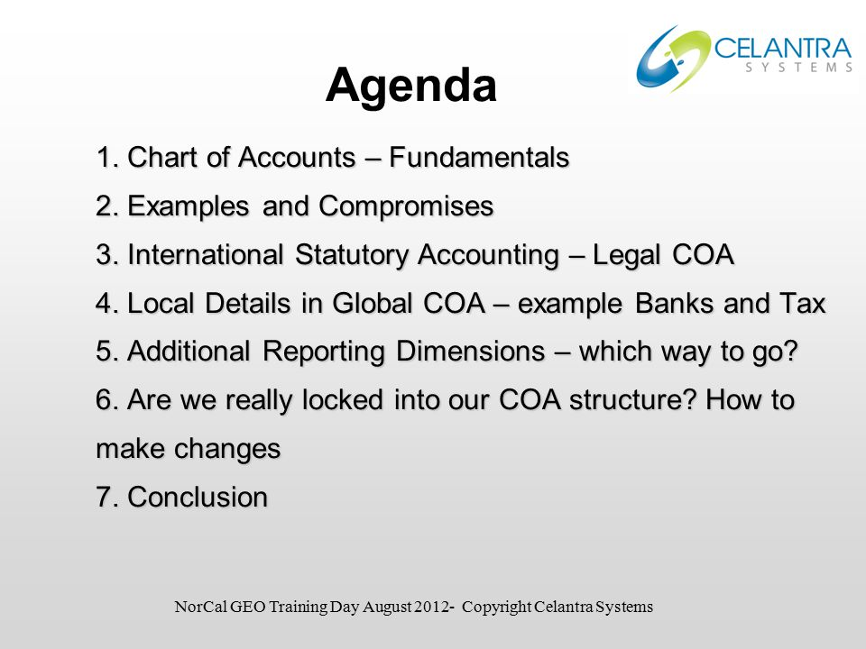 1. Chart of Accounts – Fundamentals 2. Examples and Compromises 3.
