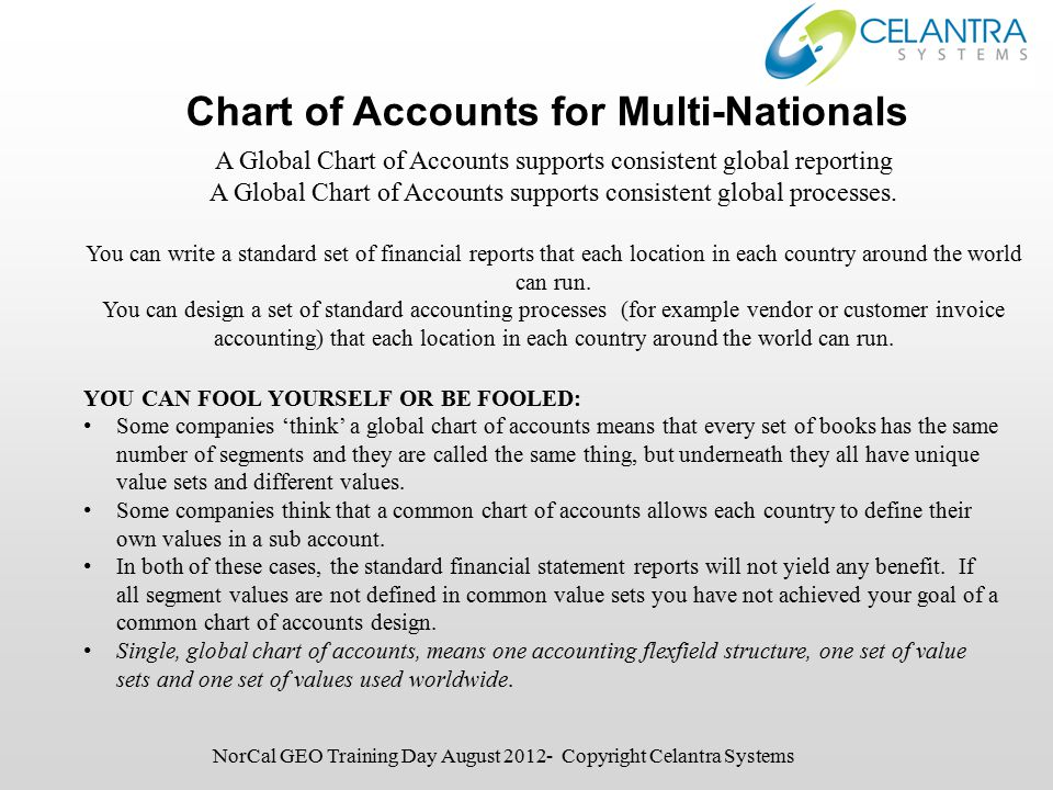 Chart of Accounts for Multi-Nationals NorCal GEO Training Day August 2012- Copyright Celantra Systems A Global Chart of Accounts supports consistent global reporting A Global Chart of Accounts supports consistent global processes.