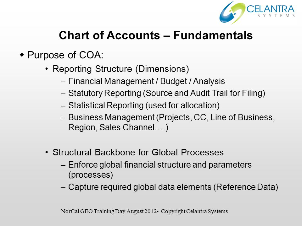 Chart of Accounts – Fundamentals  Purpose of COA: Reporting Structure (Dimensions) –Financial Management / Budget / Analysis –Statutory Reporting (Source and Audit Trail for Filing) –Statistical Reporting (used for allocation) –Business Management (Projects, CC, Line of Business, Region, Sales Channel….) Structural Backbone for Global Processes –Enforce global financial structure and parameters (processes) –Capture required global data elements (Reference Data) NorCal GEO Training Day August 2012- Copyright Celantra Systems