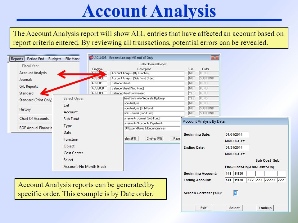 Account Analysis The Account Analysis report will show ALL entries that have affected an account based on report criteria entered. By reviewing all tr