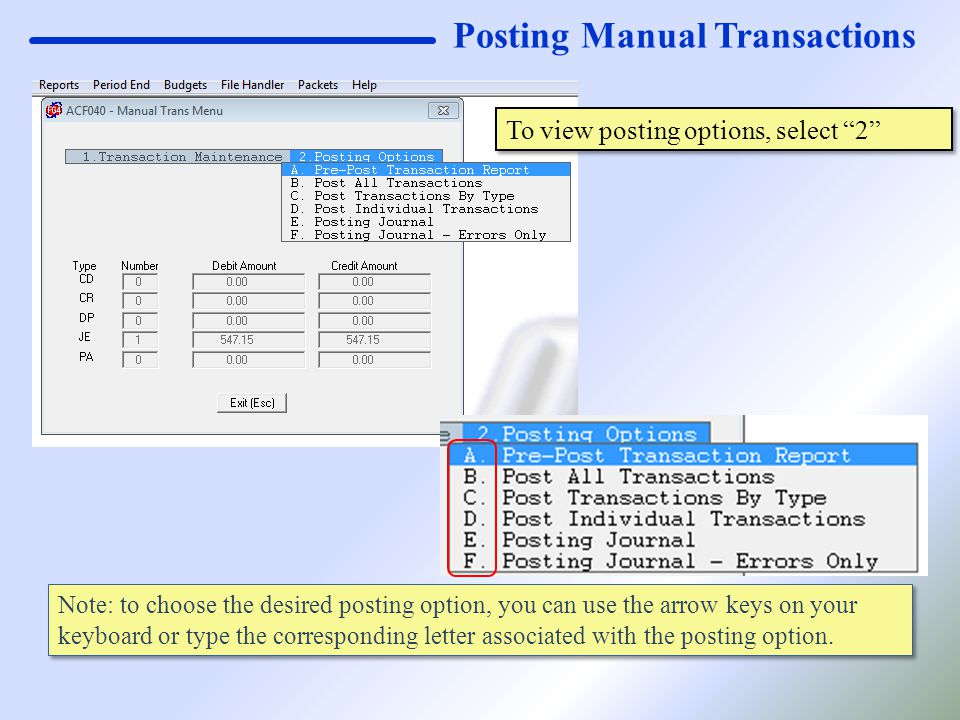 "Posting Manual Transactions To view posting options, select ""2"" Note: to choose the desired posting option, you can use the arrow keys on your keyboar"