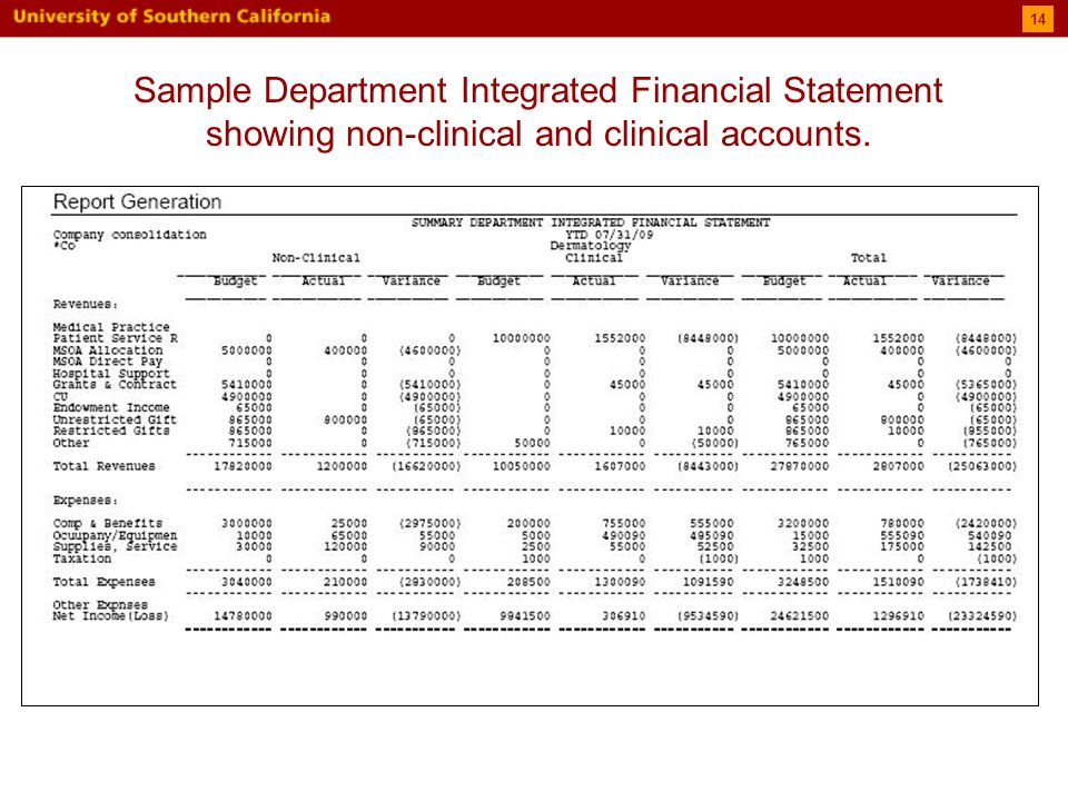 14 Sample Department Integrated Financial Statement showing non-clinical and clinical accounts.