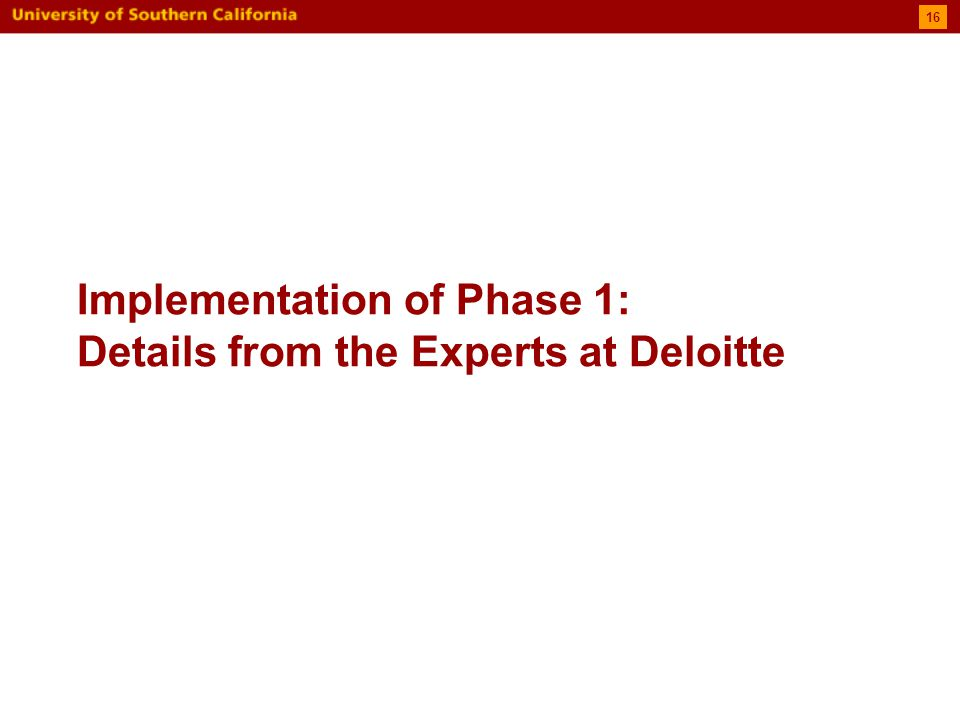 Implementation of Phase 1: Details from the Experts at Deloitte 16