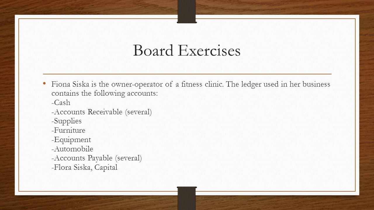 Board Exercises Fiona Siska is the owner-operator of a fitness clinic.