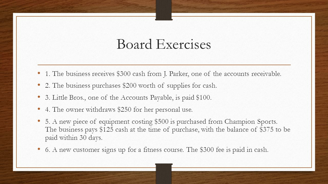 Board Exercises 1.The business receives $300 cash from J.