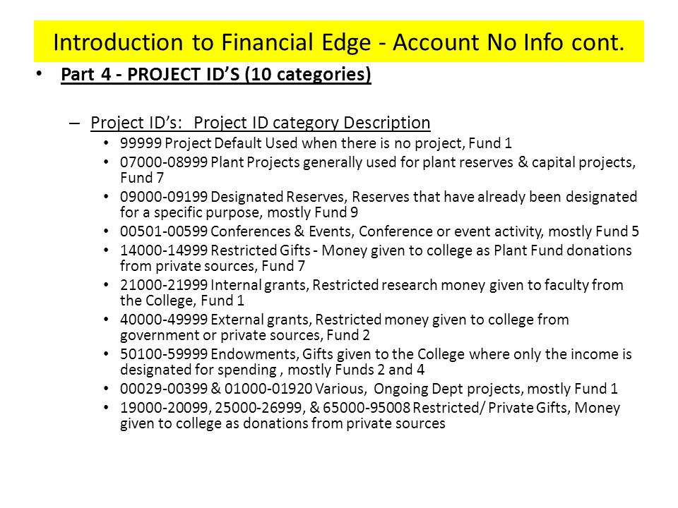 Introduction to Financial Edge - Account No Info cont.