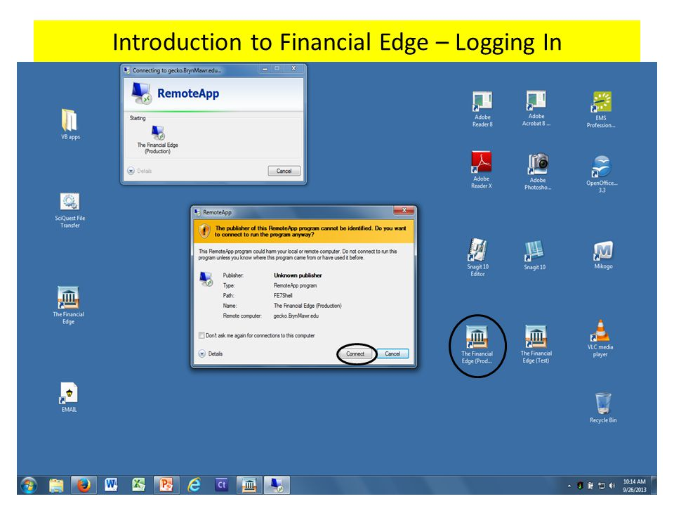 Introduction to Financial Edge – Logging In