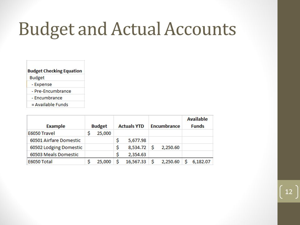 Budget and Actual Accounts 12