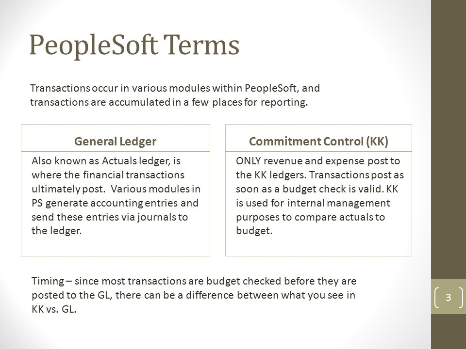 PeopleSoft Terms General Ledger Also known as Actuals ledger, is where the financial transactions ultimately post.