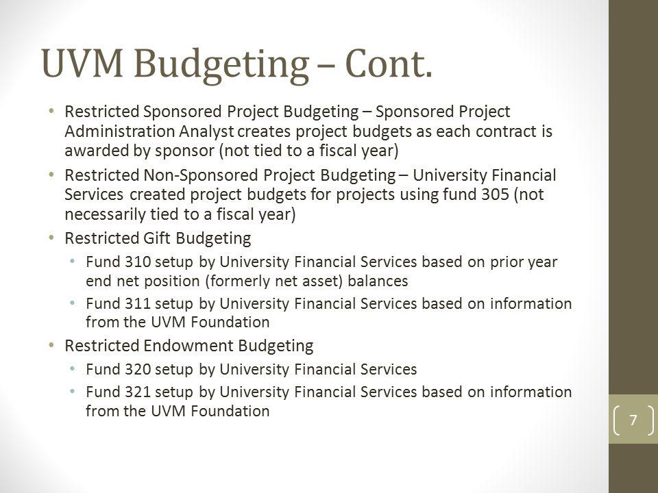 UVM Budgeting – Cont.