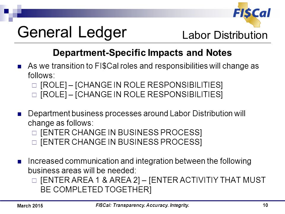 FI$Cal: Transparency. Accuracy. Integrity.10 March 2015 Department-Specific Impacts and Notes As we transition to FI$Cal roles and responsibilities wi