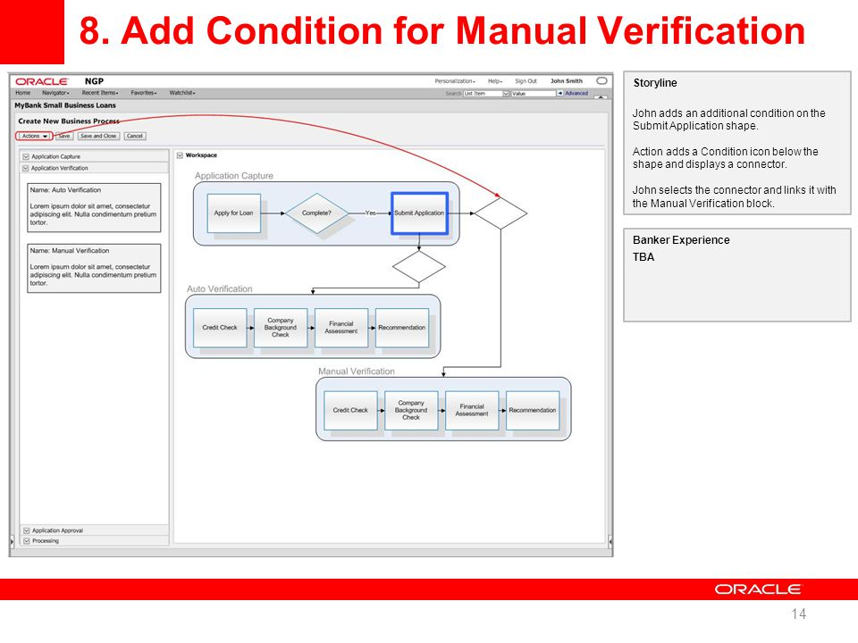 8. Add Condition for Manual Verification 14 Storyline John adds an additional condition on the Submit Application shape. Action adds a Condition icon