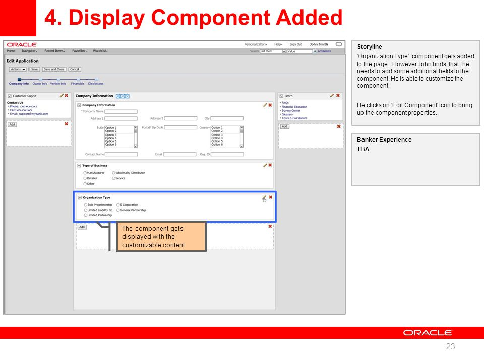 4. Display Component Added 23 Storyline Organization Type component gets added to the page.
